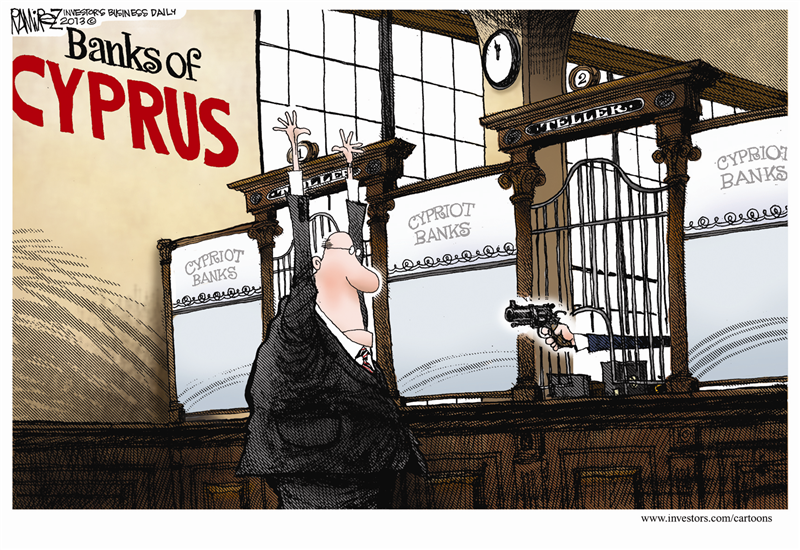 <small>Image above: Cartoon of Cypriot bank teller robbing customer by Michael Ramirez.</small>